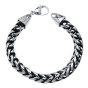 "Mens Stainless Steel & Black IP 8 1/2"" 8mm Foxtail Bracelet"