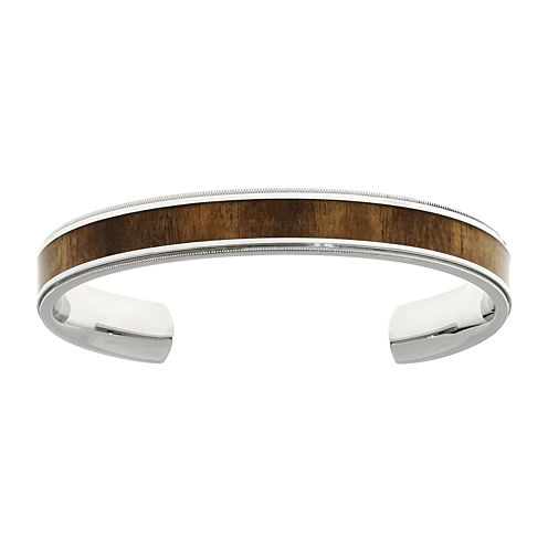 Mens Stainless Steel Wood Inlay Cuff Bracelet