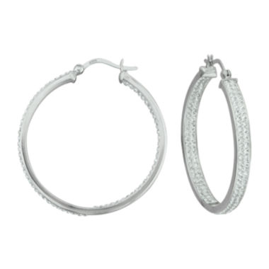 jcpenney.com | Sterling Silver Crystal In/Out Hoop Earrings