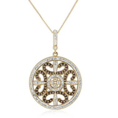 jcpenney.com | 18K Yellow Gold Over Sterling Silver Crystal Filigree Pendant Necklace