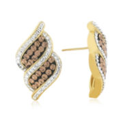 18K Yellow Gold Over Sterling Silver Crystal Swirl Earrings
