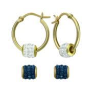 14K Yellow Gold Over Sterling Silver Interchangeable Crystal Hoop Earrings