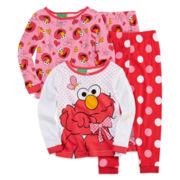Elmo 4-Pc. Long-Sleeve Pajama Set - Girls 2t-4t