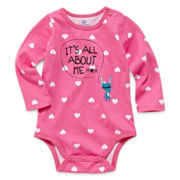 Okie Dokie® Long-Sleeve Graphic Bodysuit - Girls newborn-9m