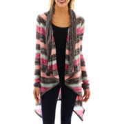 Eyeshadow Long-Sleeve Cardigan Sweater