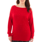 Worthington® Long-Sleeve Embellished Tunic Sweater - Plus