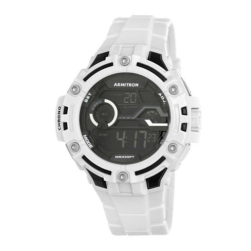 Armitron® Pro-Sport Mens White Resin Strap Chronograph Sport Watch 40/8362WHT