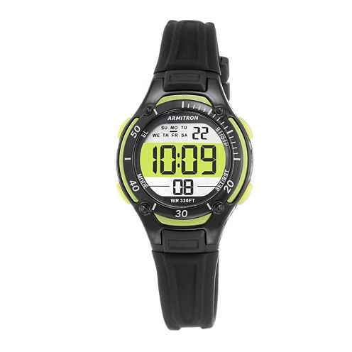 Armitron® Pro-Sport Womens Black Resin Strap Chronograph Sport Watch 45/7062LGN