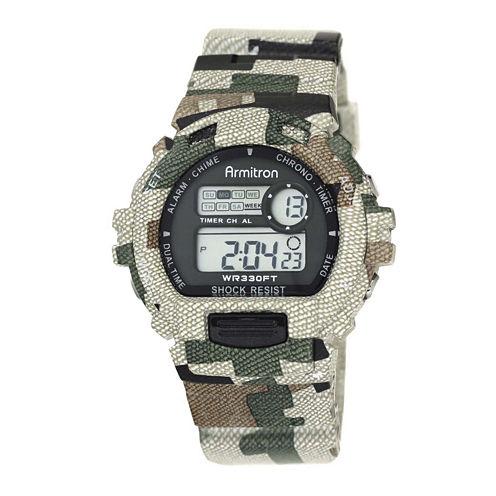 Armitron® Pro-Sport Mens Green Camo Resin Strap Chronograph Sport Watch 40/8216MILJ
