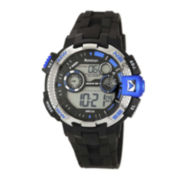 Armitron® Pro-Sport Mens Black Resin Strap Chronograph Sport Watch 40/8280BLUJ