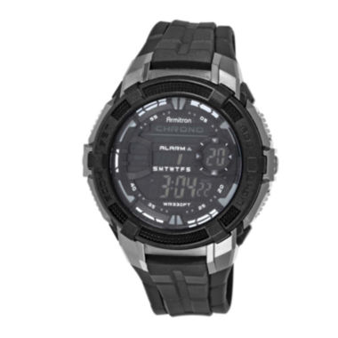 jcpenney.com | Armitron® Pro-Sport Mens Black Resin Strap Chronograph Sport Watch 40/8350BLKJ