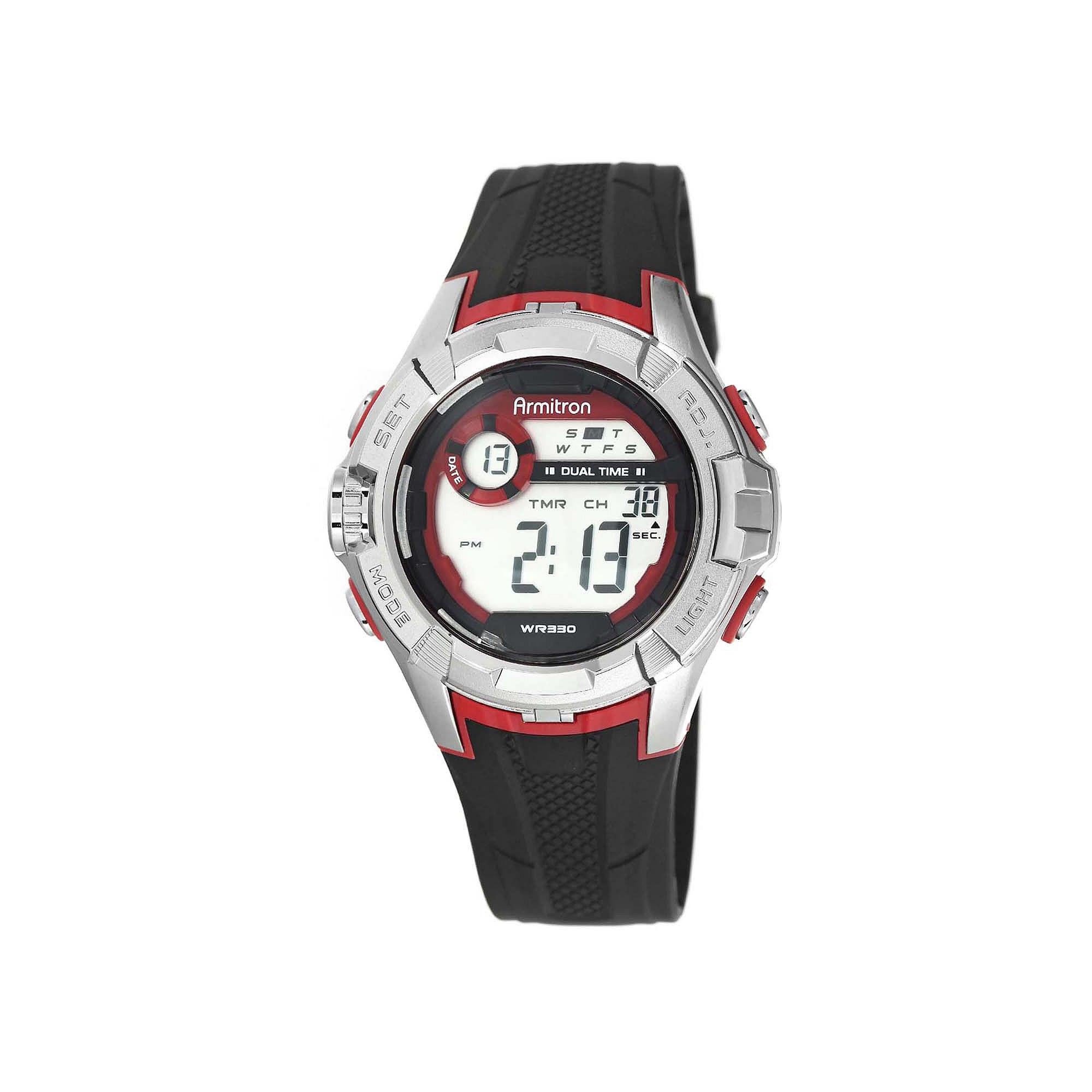 Armitron Pro-Sport Mens Black Resin Strap Chronograph Sport Watch 40/8351REDJ