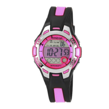 jcpenney.com | Armitron® Pro-Sport Womens Black/Pink Resin Strap Chronograph Sport Watch 45/7030PNKJ