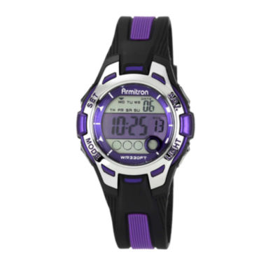 jcpenney.com | Armitron® Pro-Sport Womens Black/Purple Resin Strap Chronograph Sport Watch 45/7030PURJ