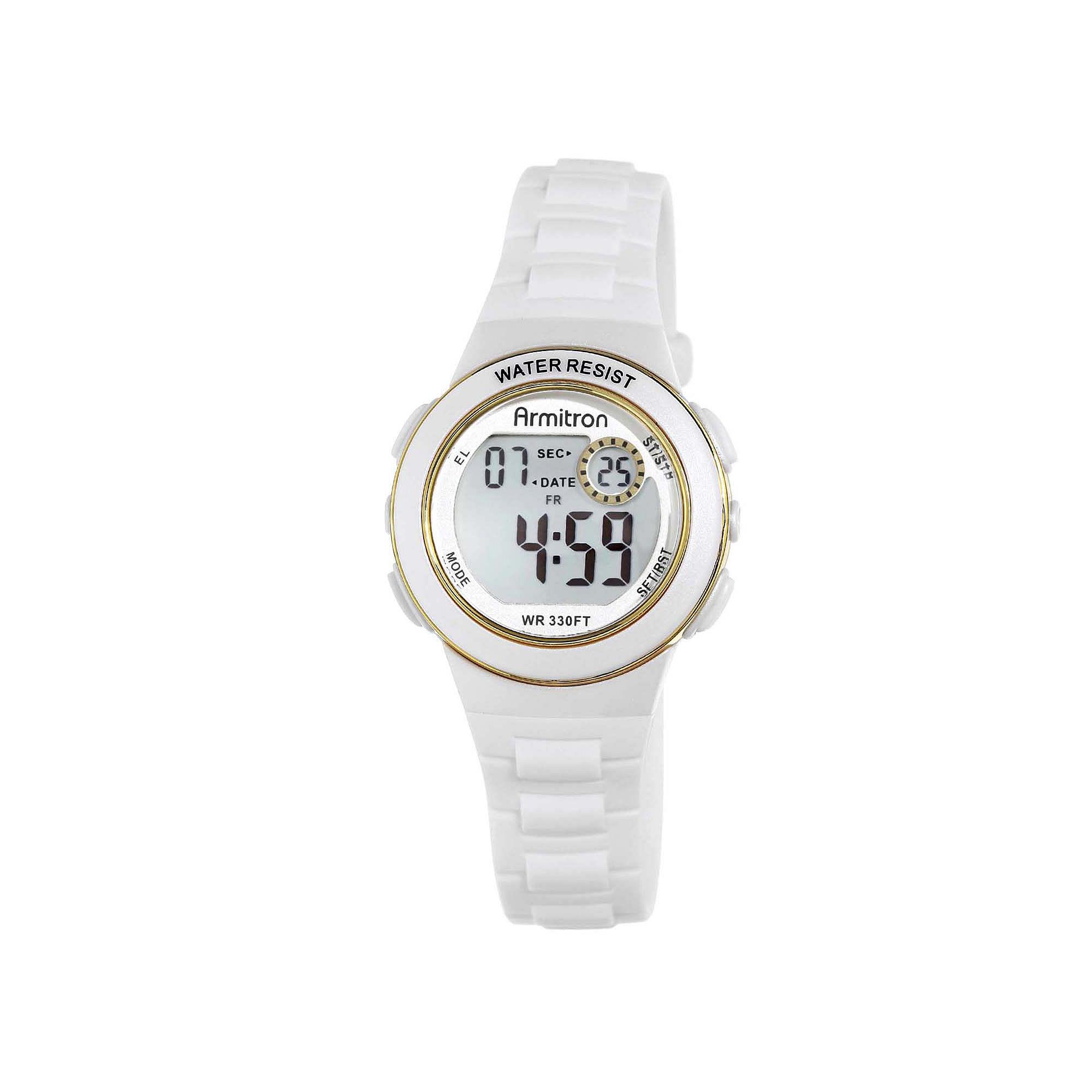 Armitron Pro-Sport Womens White Resin Strap Chronograph Sport Watch 45/7046WHTJ