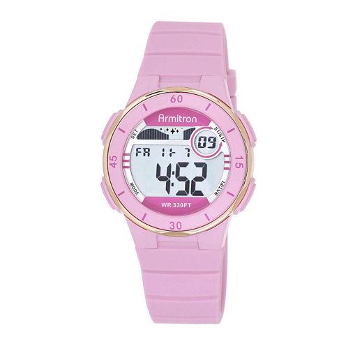 Armitron® Pro-Sport Womens Pink Resin Strap Chronograph Sport Watch 45/7049PNKJ
