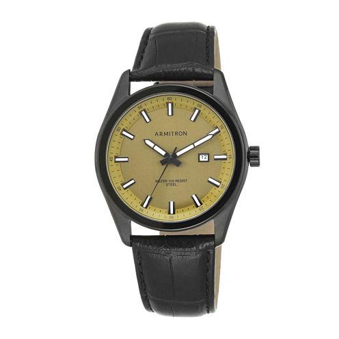 Armitron® All Sport Mens Black Leather Strap Watch 20/5087GDTIBK