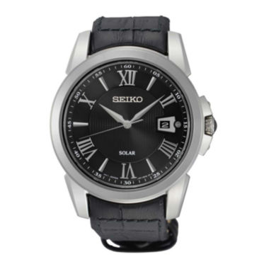 jcpenney.com | Seiko® Le Grand Sport Mens Black Leather Strap Solar Sport Watch SNE397