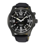 Seiko® Mens Black Leather Strap Kinetic Watch SKA709
