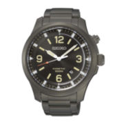Seiko® Mens Gray Stainless Steel Kinetic Watch SKA707