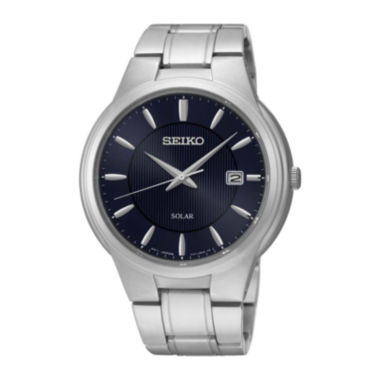jcpenney.com | Seiko® Mens Blue Dial Stainless Steel Solar Watch SNE403