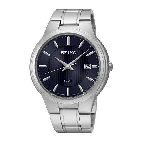 Seiko® Mens Blue Dial Stainless Steel Solar Watch SNE403