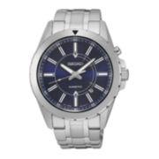 Seiko® Recraft Mens Kinetic Silver-Tone Bracelet Watch SKA703