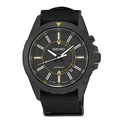 Seiko Mens Black Strap Watch-Ska705