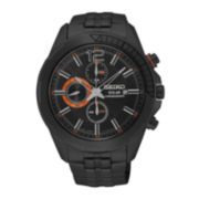 Seiko® Recraft Mens Black Stainless Steel Solar Chronograph Watch SSC383