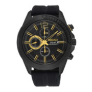 Seiko® Recraft Mens Black Rubber Strap Solar Chronograph Watch SSC385