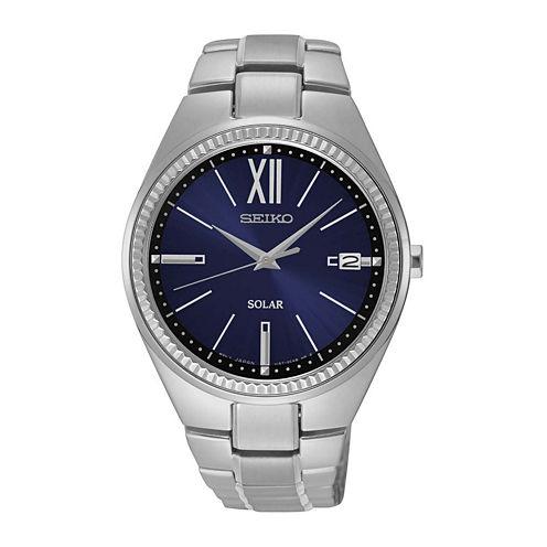 Seiko® Recraft Womens Silver-Tone Solar Bracelet Watch SNE879