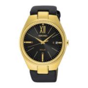 Seiko® Recraft Womens Black Leather Solar Bracelet Watch SNE876