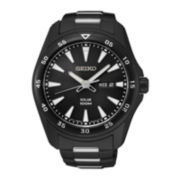 Seiko® Mens Black Ion Solar Calendar Bracelet Watch SNE401