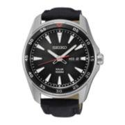 Seiko® Mens Black Calfskin Solar Calendar Bracelet Watch SNE399