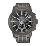 Seiko® Mens Grey Stainless Steel Black Dial Solar Chronograph Bracelet Watch SSC391
