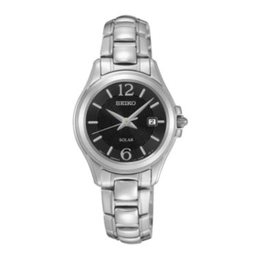 jcpenney.com | Seiko® Womens Silver-Tone Stainless Steel Black Dial Bracelet Watch SUT249