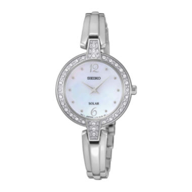 jcpenney.com | Seiko® Womens Mother-of-Pearl Dial Crystal-Accent Watch SUP287
