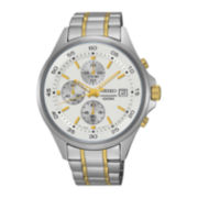 Seiko® Mens Two-Tone Stainless Steel Chronograph Sport Watch SKS479