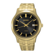 Seiko® Mens Black Dial Gold-Tone Stainless Steel Sport Watch SUR184