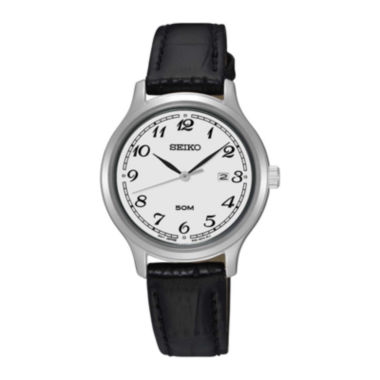 jcpenney.com | Seiko® Womens White Dial Black Leather Strap Watch SUR775