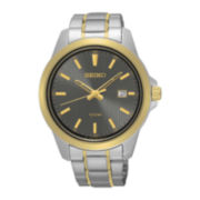 Seiko® Mens Gray Dial Two-Tone Stainless Steel Sport Watch SUR170