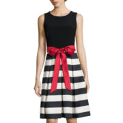 R&K Originals® Sleeveless Belted Fit-and-Flare Dress