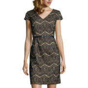 Liz Claiborne® Short-SleeveLace Sheath Dress