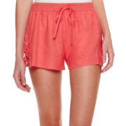 by&by Lace-Inset Linen Shorts