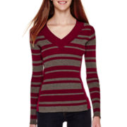 Love by Design Long-Sleeve Striped Ribbed V-Neck Sweater