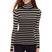 Love by Design Long-Sleeve Striped Ribbed Turtleneck Sweater