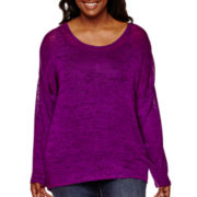Arizona Long-Sleeve Hatchi Lace Top - Juniors Plus