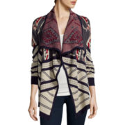 St. John's Bay® Long-Sleeve Fairisle Flyaway Cardigan