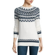 St. John's Bay® Long-Sleeve Fairisle Sweater
