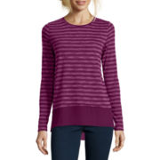 Stylus™ Long-Sleeve Shadow-Striped High-Low Layered T-Shirt